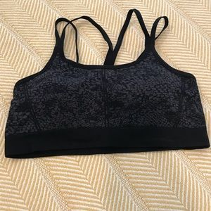 NWOT Black Print Strappy Sports Bra